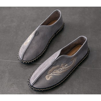 Chinese Style Men's Cloth Shoes Grey