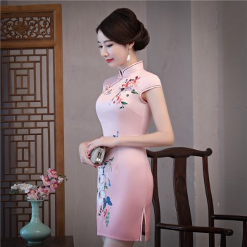 Cap sleeve mandarin collar floral printed qipao