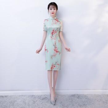 Cap Sleeve knee-length floral cheongsam Chinese dress
