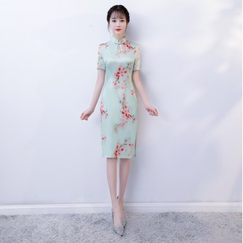 Cap Sleeve knee-length floral cheongsam Chinese dress
