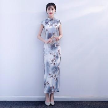 Cheongsam full length floral satin Chinese dress