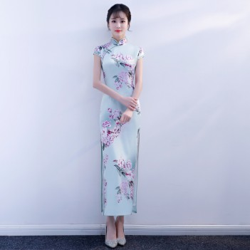 Cap sleeve mandarin collar printed floral full length qipao