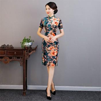 Black satin folk bird floral printed short sleeve Chinese dress