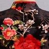 Black and red satin folk bird floral printed short sleeve Chinese dress