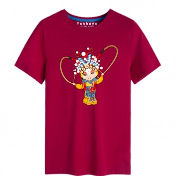 'Hu San Niang Peking Opera' Chinese style creative Wine Red T-shirt Unisex