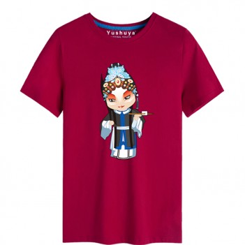 'Han Yu Niang Peking Opera' Chinese style creative Wine Red T-shirt Unisex