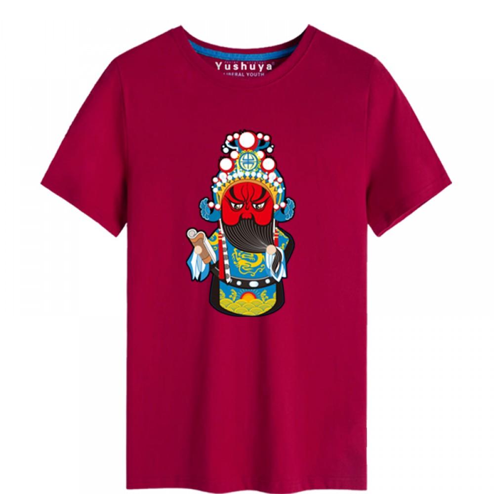 'Guan Yu Peking Opera' Chinese style creative Wine Red T-shirt Unisex