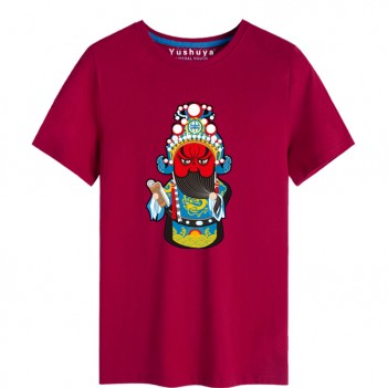 Guan Yu Peking Opera Chinese style creative Wine Red T-shirt Unisex
