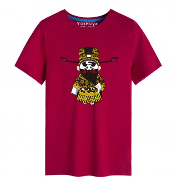 'Bao Gong Peking Opera' Chinese style creative Wine Red T-shirt Unisex