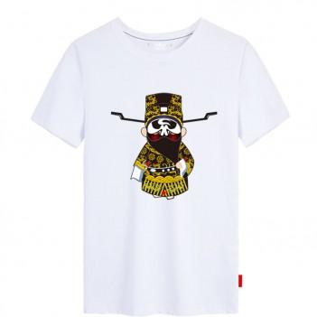 'Bao Gong Peking Opera' Chinese style creative White T-shirt Unisex