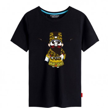 'Bao Gong Peking Opera' Chinese style creative Black T-shirt Unisex