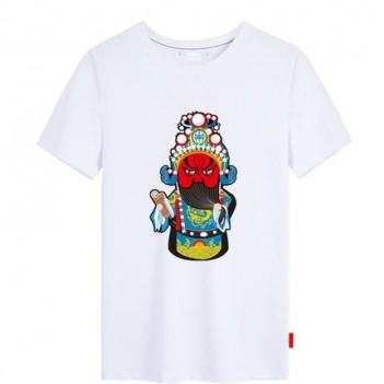 'Guan Yu Peking Opera' Chinese style creative White T-shirt Unisex
