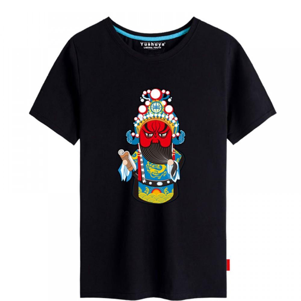 Guan Yu Peking Opera Chinese style creative Black T-shirt Unisex