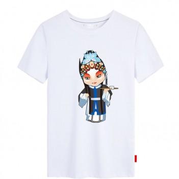 'Han Yu Niang Peking Opera' Chinese style creative White T-shirt Unisex