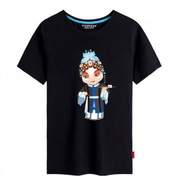 'Han Yu Niang Peking Opera' Chinese style creative Black T-shirt Unisex