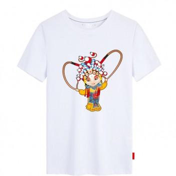 'Hu San Niang Peking Opera' Chinese style creative White T-shirt Unisex