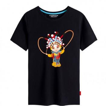 'Hu San Niang Peking Opera' Chinese style creative Black T-shirt Unisex