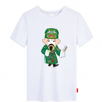 Jiang Gan Peking Opera Chinese style creative White T-shirt Unisex