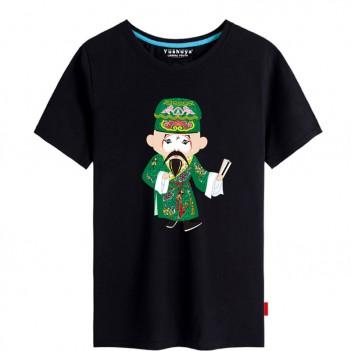 Jiang Gan Peking Opera Chinese style creative Black T-shirt Unisex