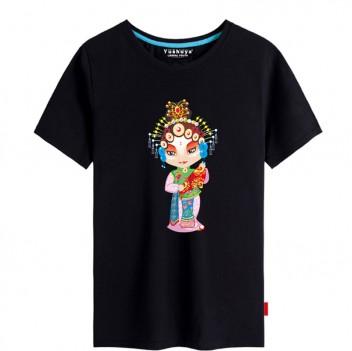'Ye Hanyan Peking Opera' Chinese style creative Black T-shirt Unisex