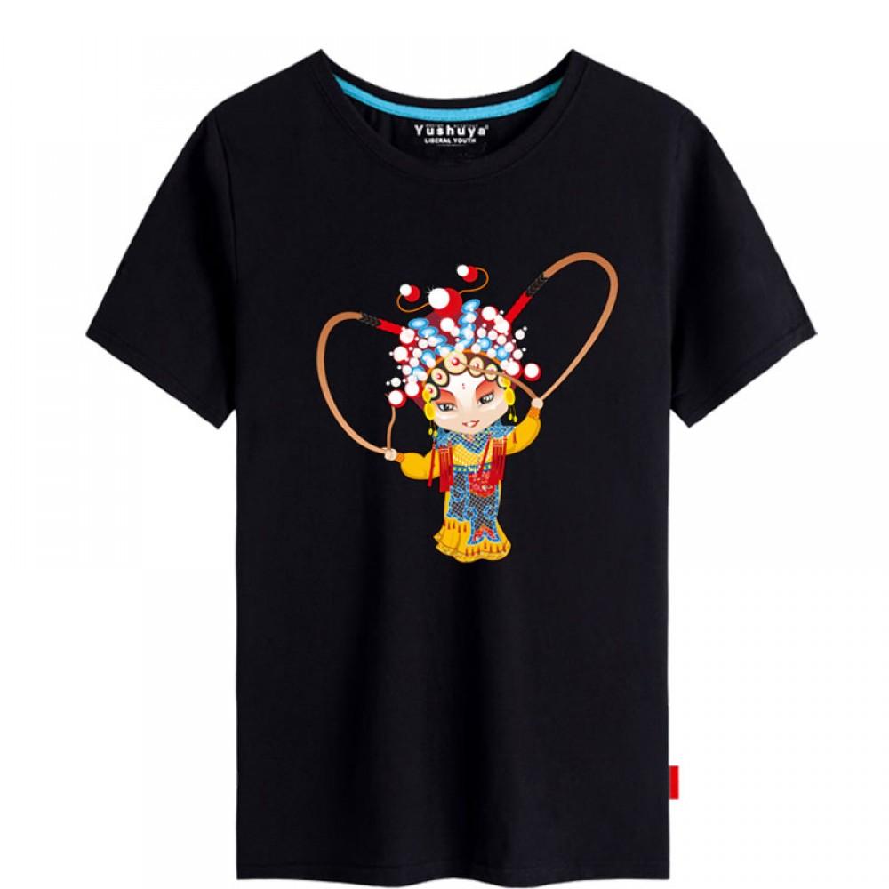 Hu San Niang Peking Opera Chinese style creative Black T-shirt Unisex