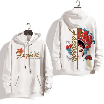 Peking Opera Mask Plus Velvet White Woem Face Hoodie Jacket