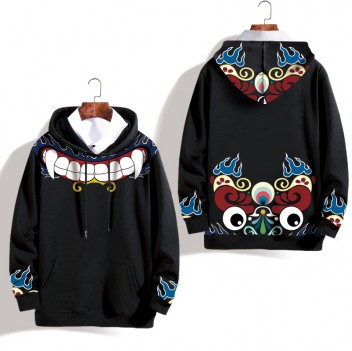 Peking Opera Mask Plus Velvet Black Lion Hoodie Jacket Unisex
