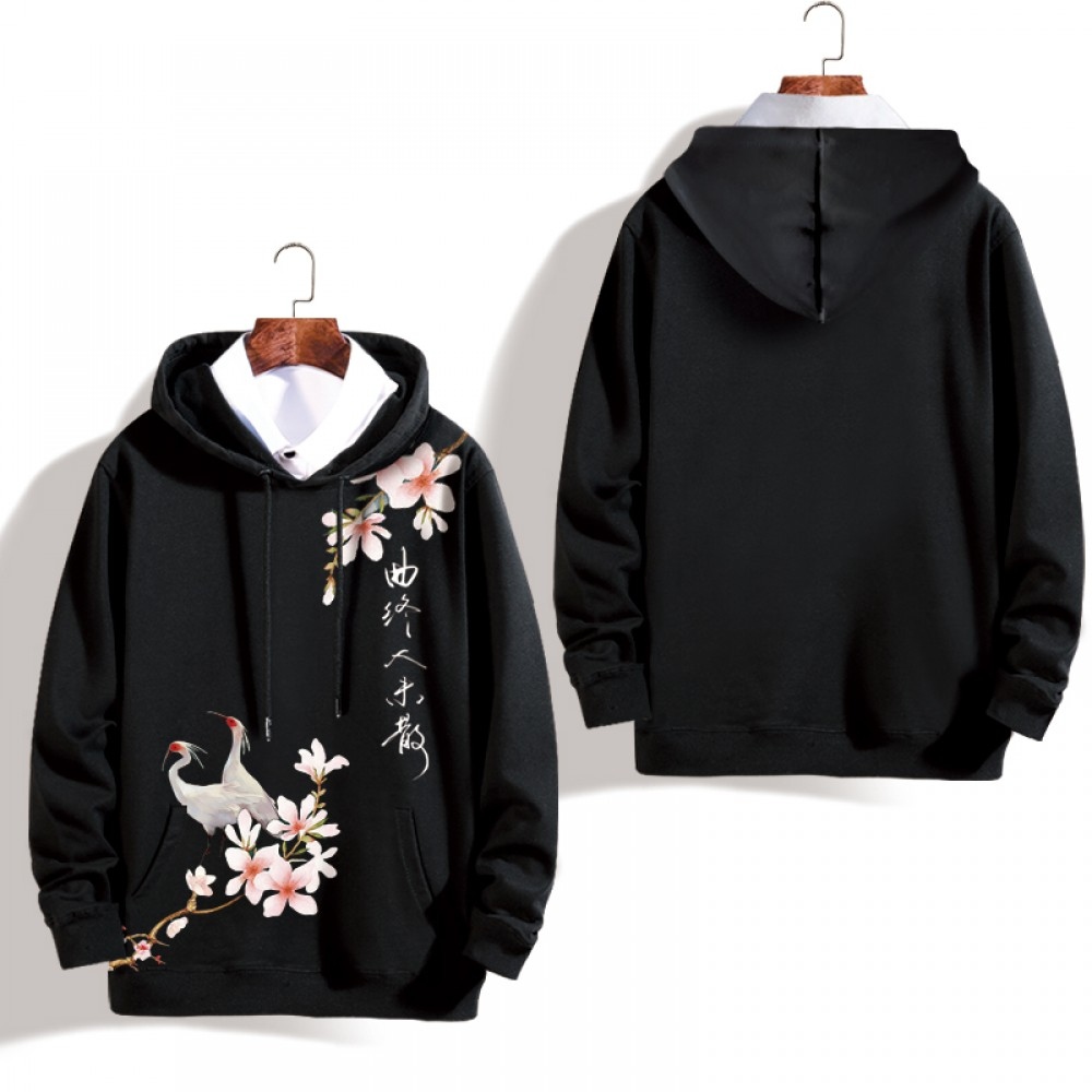 Peking Opera Mask Plus Velvet Black Flower Hoodie Jacket Unisex