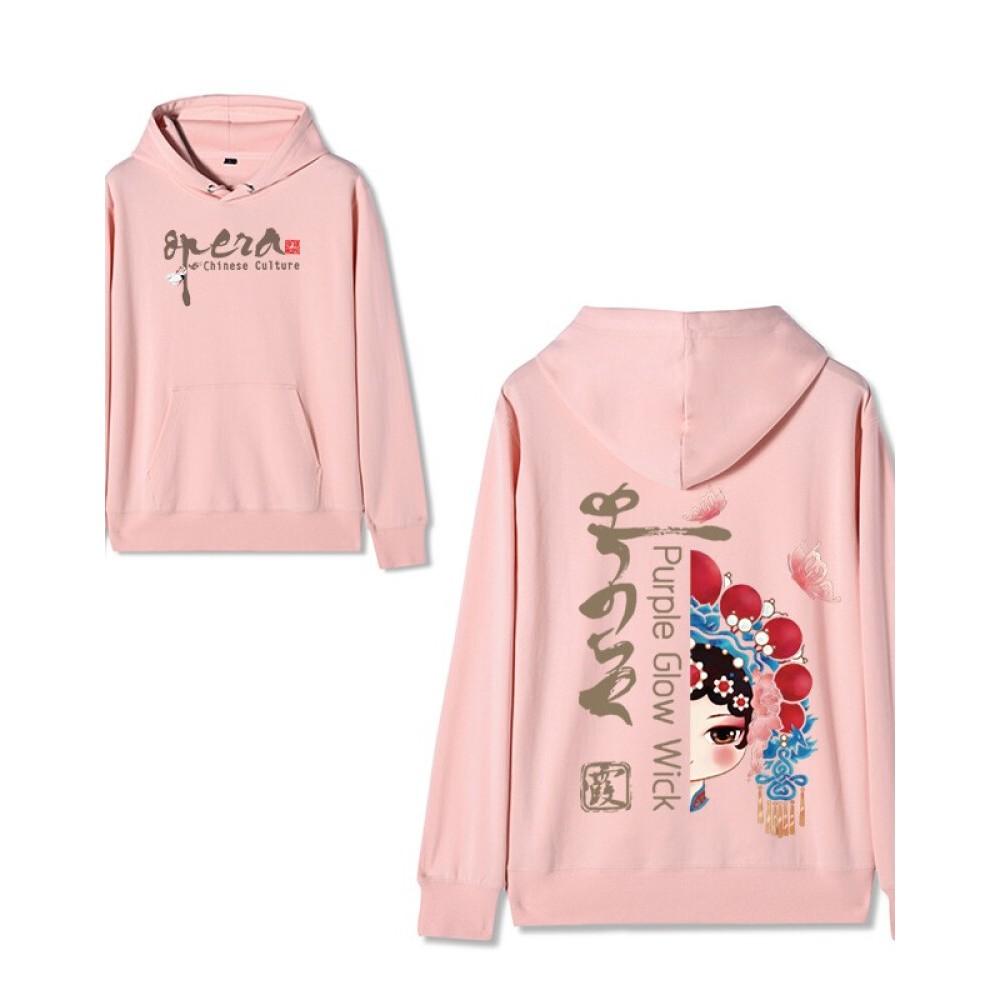 Chinese style Forbidden City co-branded Peking Opera Hoodie Hua Dan 2 pink