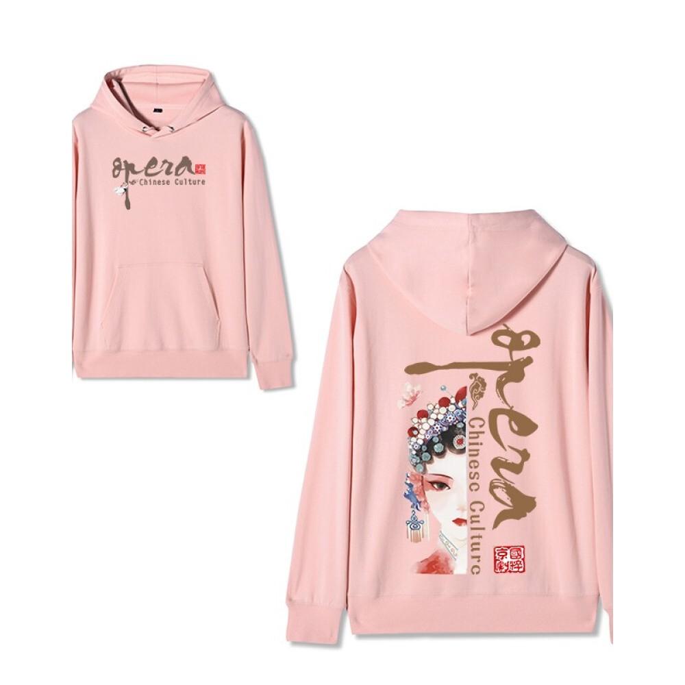 Chinese style Forbidden City co-branded Peking Opera Hoodie Hua Dan pink