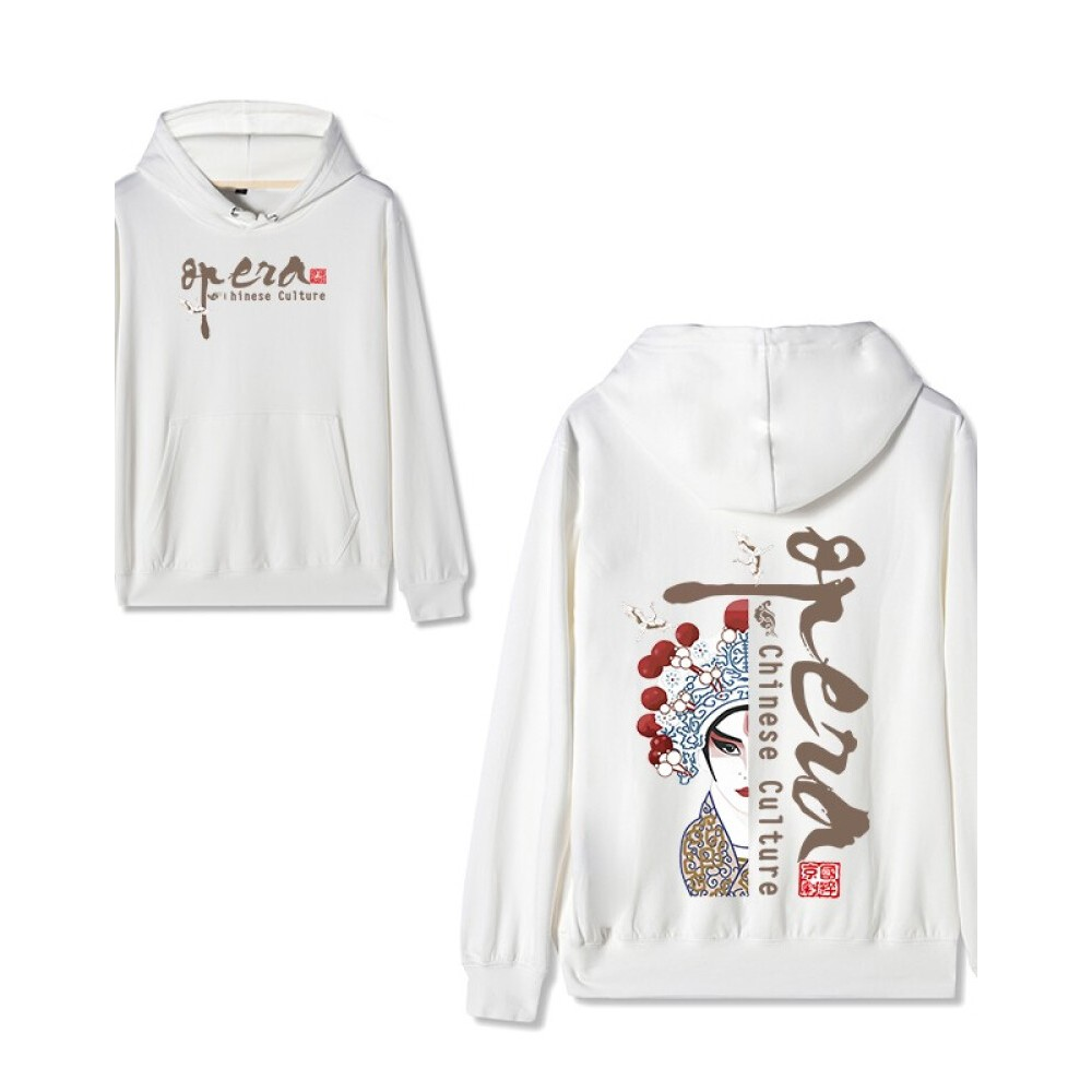 Chinese style Forbidden City co-branded Peking Opera Hoodie Lao Sheng White