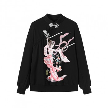 Chinese style disc button sweater new style Diao Chan black