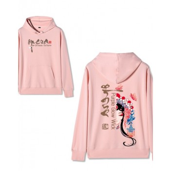 Chinese style Forbidden City co-branded Peking Opera Hoodie Purple Xia Pink