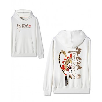 Chinese style Forbidden City co-branded Peking Opera Hoodie Supreme Treasure White
