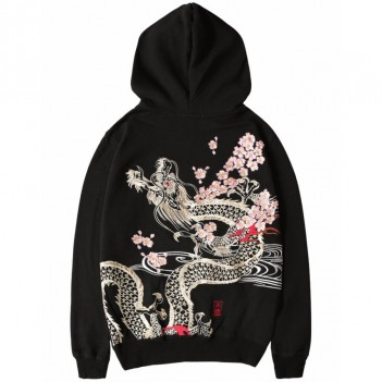 Chinese Style Autumn And Winter Embroidery Printed Sweatshirt Black