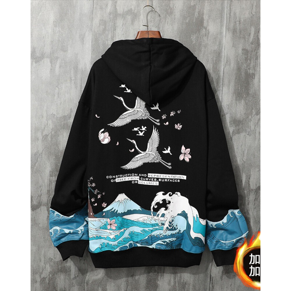 Chinese style crane couple sweater hooded black