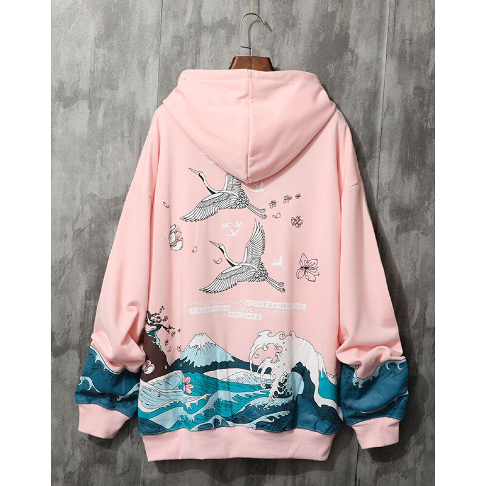Chinese style crane couple sweater hooded pink