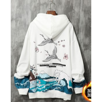 Chinese style crane couple sweater hooded white
