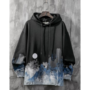 Chinese style ink couple sweater hooded black