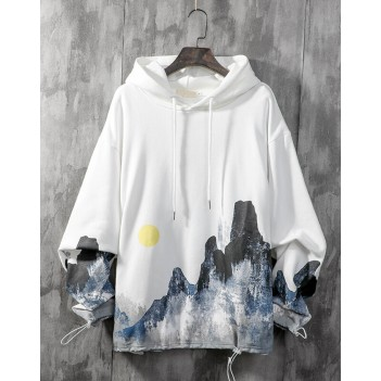 Chinese style ink couple sweater hooded white