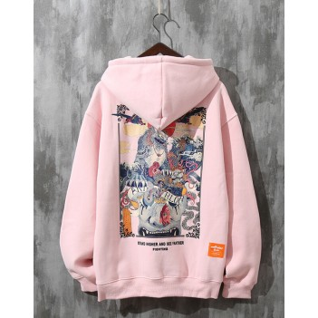 Chinese style unicorn couple sweater hooded pink