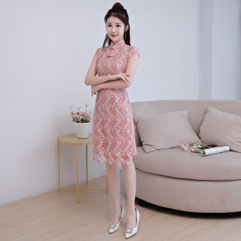 Cap sleeve pink lace short Chinese mandarin collar dress