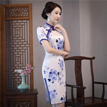 Blue & white porcelain pattern silk blend cheongsam evening dress