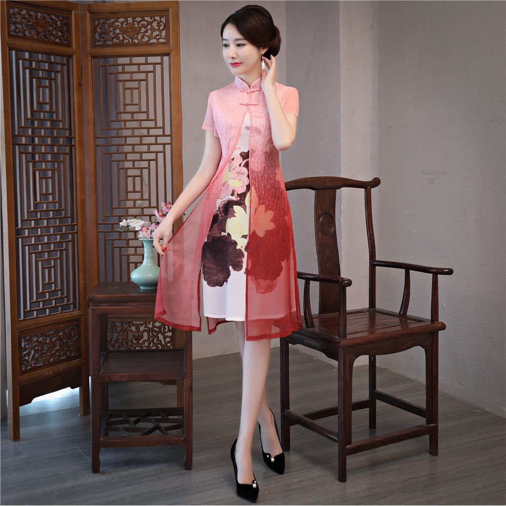Cheongsam knee length two-piece dress with handmade drawing