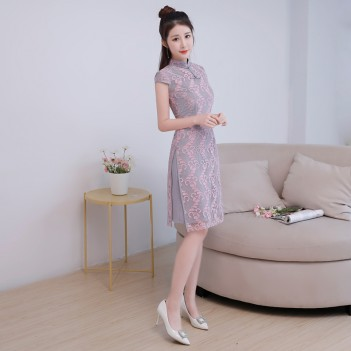 Cap sleeve cheongsam Chinese dress with floral emboidery