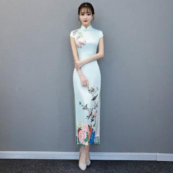 Cap sleeve mandarin collar light blue cheongsam