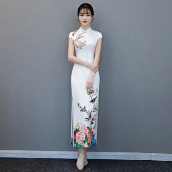 Cap sleeve mandarin collar white cheongsam