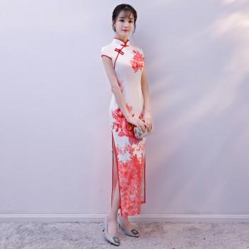 Cap sleeve mandarin collar red peony flroal Chinese dress