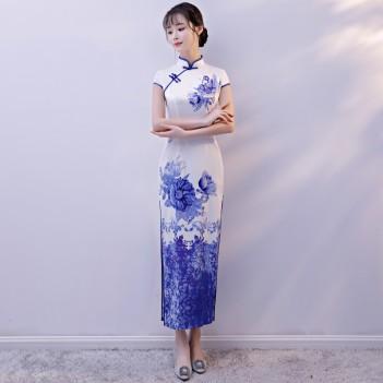 Cap sleeve mandarin collar blue peony flroal Chinese dress
