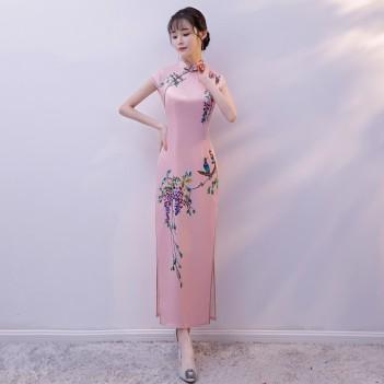 Cap sleeve mandarin collar light peach Chinese dress